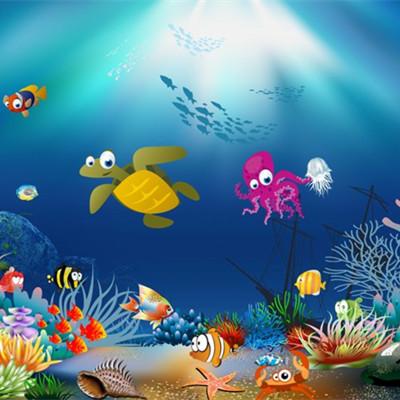 这是青岛海底世界最大的一个展厅,其右侧是海底世界最大的平面展窗