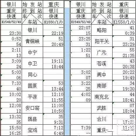 银川至固原火车站列车最新时刻表